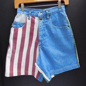Vintage High Waist Color-Block Mom Jean Shorts